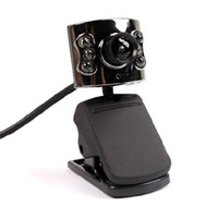 Wholesale Black LED Night Lights USB Digital Web Camera Webcam with Microphone for Laptop Notebook PC for Live Chat Video