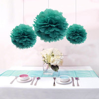 Wholesale 12pcs Mixed Sizes Blue Tissue Paper Pom Poms Paper Balls Wedding Party Decoration Holiday Supplies