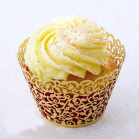 Wholesale 60pcs Gold Pearl Paper Cupcake Wrappers Laser Cut Filigree Cupcake Liners Collars Wedding Party Cupcake Decoration