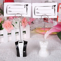 Wedding wedding place cards - 20pcs Bride Dress Rhinstone Adorned Groom Tuxedo Table Numbers Place Card Holders Wedding Party Decoration
