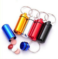 waterproof   Aluminium emergency travel sealed waterproof pill box case key chain keyring, 50pcs lot