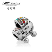 Chains Fashion Pendants Baby gifts! T400 made with swarovski elements,925 sterling silver,baby carriage,Slide charms on slide off #Q149,free shipping