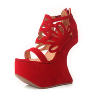 Women Spool Heel Genuine Leather 2013 Sandals Jeffrey Campbell The Corleone Flower Sandals Shoes in Red Suede Platform Wedges Night Walk Sandals Women Shoes