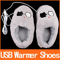 Wholesale Cute Grey Piggy Plush USB Foot Warmer Shoes Electric Heat Slipper C1295