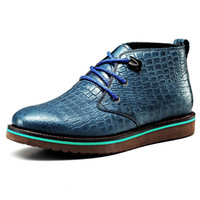 Wholesale Brand fashion Men high top cow leather crocodile flat heel platform formal suit dress skateboarding shoe ankle Martin boots38