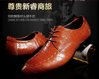 Wholesale Cardanro men s spring genuine leather crocodile pattern formal male pointed toe leather
