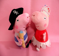 "Unisex 0-12 Months Video Games 30cm Large Peppa pig 12"" hot sale 12 inch plush toy toddler Ballerina Peppa and George Pirate Pig Dolls For kids Free shipping"
