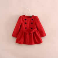 Tench coats Girl O-Neck EMS Free Baby Children Classic Double-breasted Wind Coat Waistband O-Neck Outwear Red Light Blue Khaki Ruffle Cotton Overcoat SZ0007