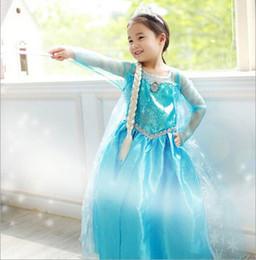 Wholesale 2014 NEW Frozen clothes Romance elsa princess dress Elsa amp Anna dresses Costume kids girls Blue Dress party dreeese