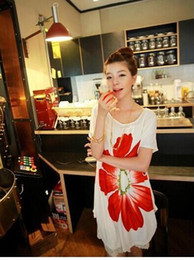 Wholesale Women Maternity Dresses Casual Pregnant Clothing Short Sleeved Cotton Big Flower Maternity Dress Outwear Sun Dress White Free Size