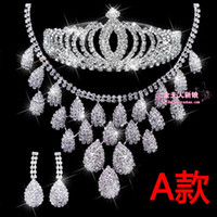 Wholesale 2014 Hot New In Stock Crystal Rhinestone Wedding Bridal Jewellery Sets Fashion Hot Bridal Accessories