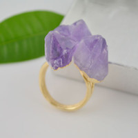 Wholesale 6X Druzy Drusy Nature Amethyst Rock Druse Quartz Geode Ring in purple color