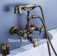 Wholesale brand new antique brass classic bath and shower faucer bathroom bathtub mixer tap with cross head handles