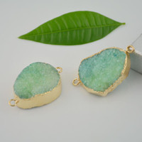 Wholesale 8X Drusy Gold Plated edge Druzy Connector Beads in Green quartz Jewelry Finding