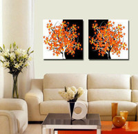 Abstract handpainted abstract Free shipping Modern Canvas Combination Abstract Living Room Picture oil Painting Decorative Print Art Tree 2pcs set