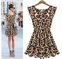 Wholesale S XXL New Fashon Women Casual Ruffles Sleeve Summer Dress Pleated Leopard Dress Plus Size