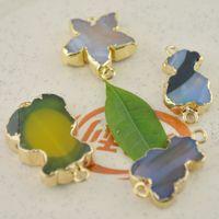 Wholesale Fashion Mixed Color Agate Stone Connctor Fit Bracelet