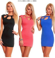 Wholesale European night club women dress with hollow out sexy slim bag hip cut dress solid color Club clothing