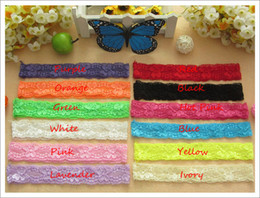 Wholesale 60pcs quot lace headband hairband crochet hair elastic headbands baby hair accessories hair ribbons bandanas for hair flower accessory
