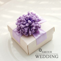 Wholesale 7Color Flower with Ribbon Bow Cardboard Candy Boxes White Square Wedding Favor Holder Gift Party Boxes a