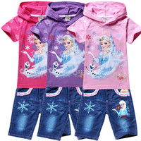 Wholesale Summer Children s clothes Frozen Elsa embroidered piece European American girls short sleeve suit color choice