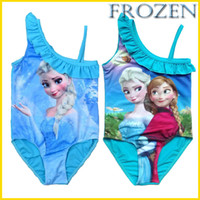 Wholesale 2014 New Baby Girl Frozen Swimsuit Summer Princess Anna Elsa Beach Swimsuit One Piece Swim Bodysuit Blue Fashion Bodysuit Swimsuit