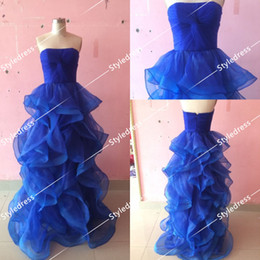 Wholesale Charming Strapless Royal Blue Cross Ruffle Sexy Newest Princess Gowns New Collection
