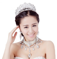 Jewelry Sets rhinestone bridal jewelry - Elegant Wedding Bridal Hair Accessories Pearls Crystal Rhinestone Swarovski Silver Headband Beaded Crown Tiara Necklace Earrings Jewelry Set