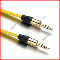 Wholesale mm Braided Flat Male To Male M M Stereo Audio AUX Auxiliary Headphone Cable Cord For MP3 PC Notebook