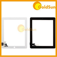 Wholesale Digitizer Touch Screen Touch Panel Glass Panel for iPad iPad2 White Black with Adhesive Test GoldSun