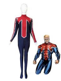 Blue & Red Captain Britain Spandex Superhero Costume Halloween Cosplay Party Zentai Suit