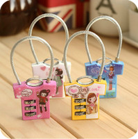 Wholesale MINI Cartoon T shirt Luggage Lock Portable Drawer Lock Bag Lock Accessories Travel Supplies SH711