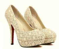 Women Pumps Spring and Fall 2014 Newest Gold Lace Gown Prom Stiletto Heel Pumps Sexy Wedding Bride Embroidery High Platform Spool Heel Dress Shoes size US 5-7 xz129