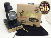 Cheap New Genuine Marshall Major headset FX50 Anniversary With Microphone Music Hifi Pro Stereo Headphone in gift box free shipping