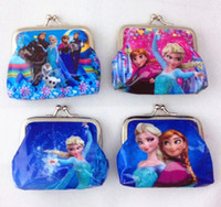 Wholesale New fashion baby girls Frozen Coin Purses kids Snow Queen wallet chilldren princess Elsa Anna money bag party supplies
