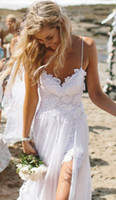A-Line Reference Images V-Neck 2014 New Chic Spaghtti Straps V Neck Boho White Lace Beach Low Back Wedding Dresses Bridal Gowns Chiffon Robe De Mariage