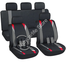 Wholesale New Red Gray Black Flat Cloth piece Front Rear Car Seat Covers Set Universal For Bench Bucket