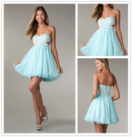 Wholesale Stylish Side Cut Outs Homecoming Dresses Strapless Lace Bodice Empire Waist Babydoll Tulle Skirt Party Dresses Short Seafoam Prom Dresses