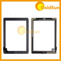 Wholesale Touch Screen Glass Touch Panel Digitizer Assembly for iPad iPad2 iPad3 Test with Home Button Adhesive White Black GoldSun