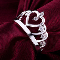 Wholesale 925 silver rings fashion Jewelry Austrian crystal ring Beautiful luxury Crown Ring body jewelry