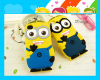 For Apple iPhone TPU White 3D Silicone Cute Minions Despicable Me2 Case Soft Cartoon Back Cover for iphone 5 5S 4 4S + wall charger sample