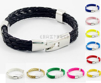 Wholesale FASHION Mens Boys Solid Rope PU Leather Stainless Steel Bracelet Wristband