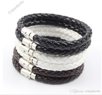 american flag sets - Magnetic Clasp Bracelet Black PU Leather Braided Stainless Steel Unisex Black mm