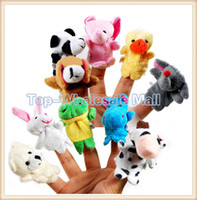 Teddy Bear White Plush 10 pcs a lot Mini Cute Baby Plush Toy Finger Puppets Tell Story Props(10 animal group) Animal Doll Kids Toys Children Gift