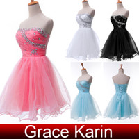 5 Colors Free Shipping Strapless Beaded Voile Ball Gown Mini...