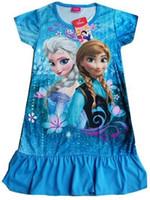 Casual Dresses Strapless A Line Girls Cartoon Frozen Nightgowns Fashion kids homewear Girl soft pajamas children clothes summer baby sleep dress nightclothes