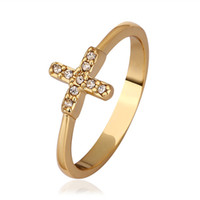 With Side Stones South American Women's 2014 New Design 18K gold plated swiss CZ diamond cross Rings fashion jewelry classic Christmas gift free shipping