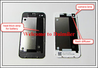 Wholesale Back Glass Battery Housing Door Back Cover Replacement Part Flash Diffuser For iphone G S White Black Colors Faceplate Top Quality