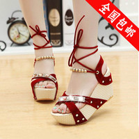 Lace-Up Unisex Adult 2014 scrub wedges high-heeled sandals women's shoes open toe platform sandals black red