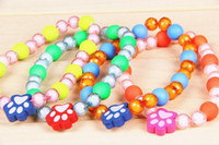 Wholesale Fashion Mix Colors Glass Beaded Pet Necklace Pet Supplies Elastic Necklace bq